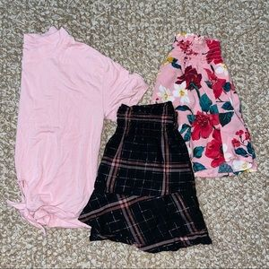 Old navy kids pink preppy outfit - shirt & 2 skirt